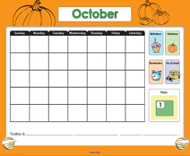 October Calendar (Weather & Morning Meeting) - Smartboard Lesson