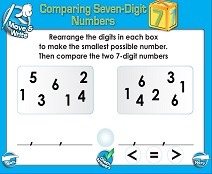 Comparing Seven-Digit Numbers - Smartboard Lesson