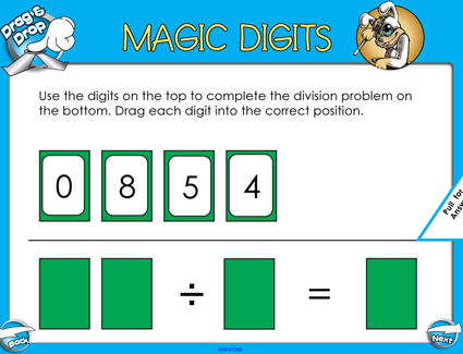 Magic Digits Division - 2 Digits by 1 Digit - Smartboard Lesson