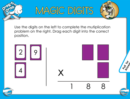 Magic Digits Multiplication - 2 Digits by 1 Digit - Smartboard Lesson