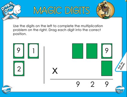 Magic Digits Multiplication - 3 Digits by 1 Digit - Smartboard Lesson