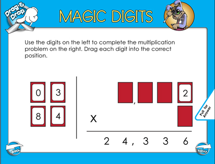 Magic Digits Multiplication - 4 Digits by 1 Digit - Smartboard Lesson