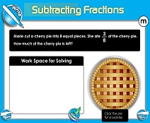 Subtracting Fractions: Same Denominator - Smartboard Lesson