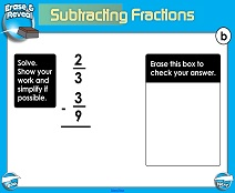 Subtracting Fractions: Different Denominators - Smartboard Lesson