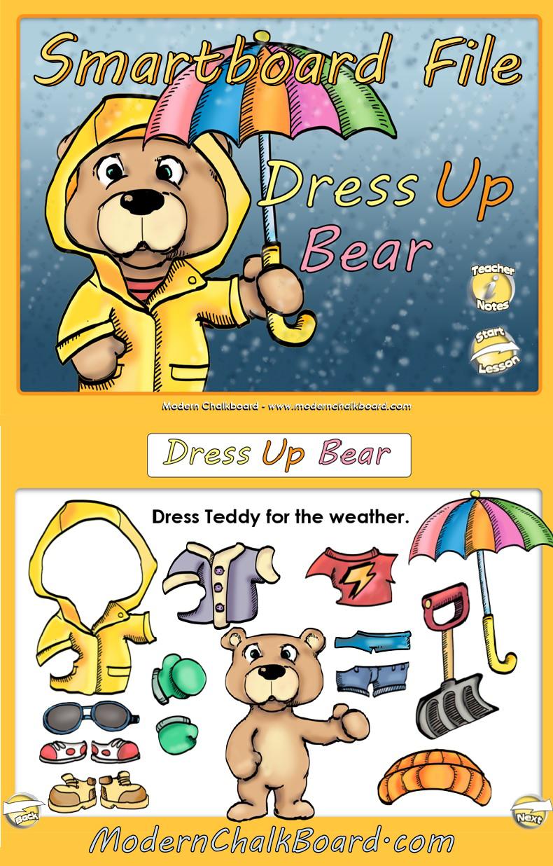 Smartboard Kindergarten Calendar : Smartboard dress up bear